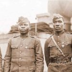 World War 1: US Army's segregated 366th Infantry Officers: Abbott, Lowe, Fisher, White. National Archives